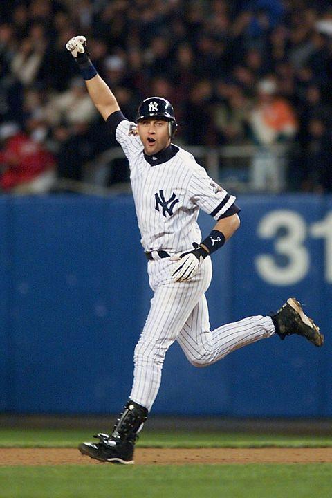 New York Yankees shortstop Derek Jeter celebrates