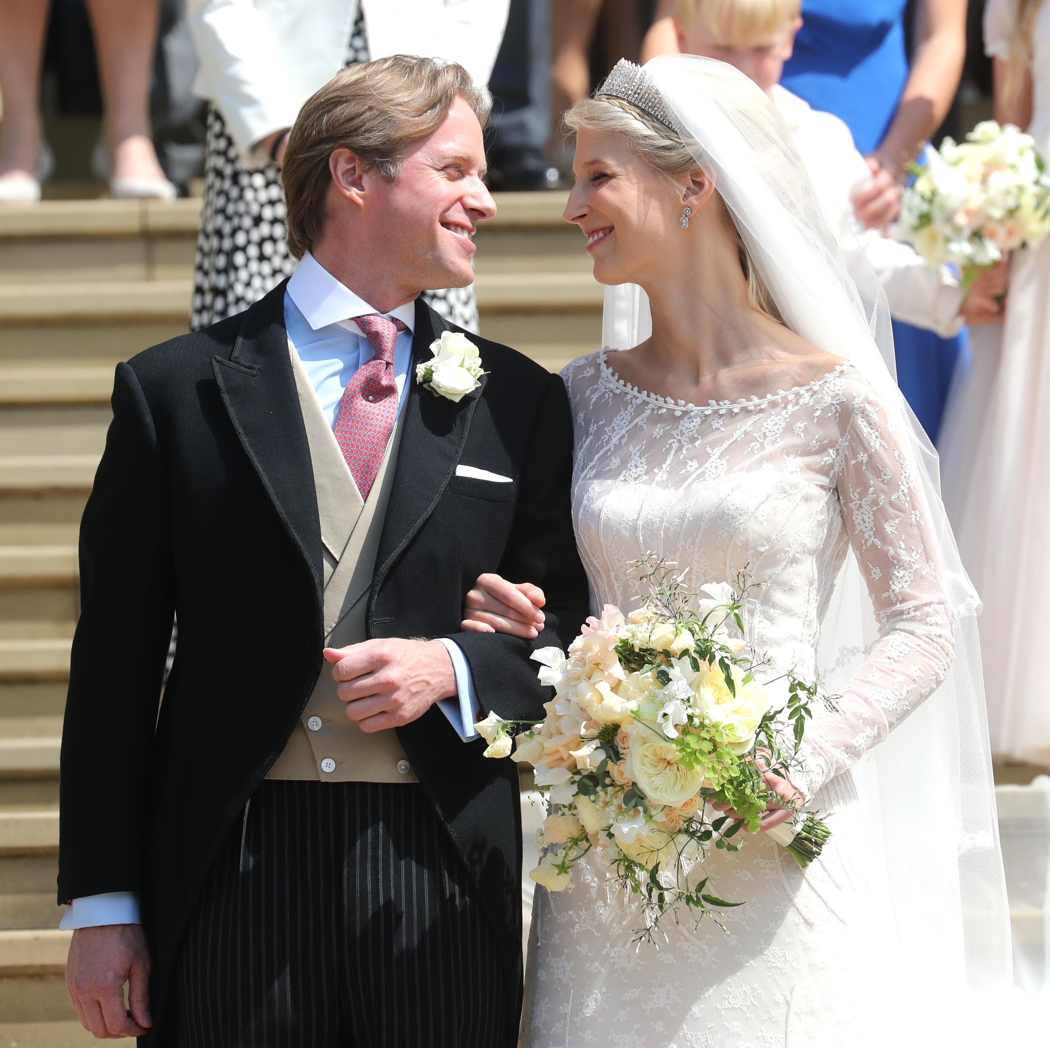 This morning, Lady Gabriella Windsor, daughter of Prince and Princess Michael of Kent (and first cousin once removed to Queen Elizabeth) marries Thomas Kingston at St George's Chapel at Windsor Chapel, the very same venue for both her cousin Princess Eugenie's wedding to Thomas Brooksbank in October 2018 , and of course, Prince Harry's royal wedding to Meghan Markle, the now Duchess of Sussex, just one year ago . Follow along with their nuptial celebrations with all of the photos of the royal family, their guests, and of course, the revelry.
