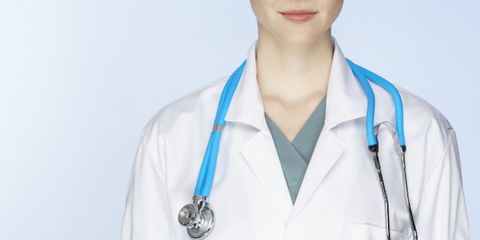 Collar, Uniform, Stethoscope, White coat, Physician, Medical equipment, Service, Health care provider, Medical, Employment,