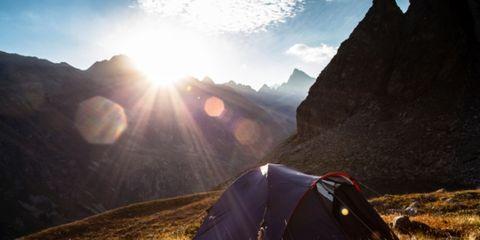 Tent, Sun, Mountainous landforms, Landscape, Camping, Highland, Sunlight, Slope, Mountain, Light,