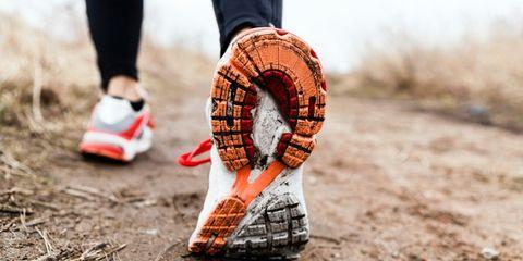 Soil, Carmine, Walking shoe, Lifebuoy, Sock, Synthetic rubber, Tartan, Ankle, Outdoor shoe, Running shoe,