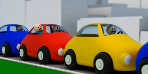 Daydreaming while driving can causes accidents; traffic jam