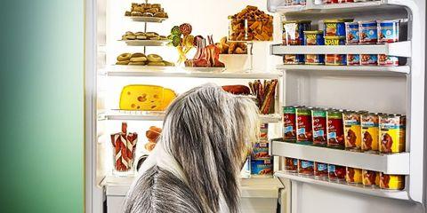 Shelving, Shelf, Retail, Food storage, Street fashion, Long hair, Beverage can, Pantry, Bottle, Collection,