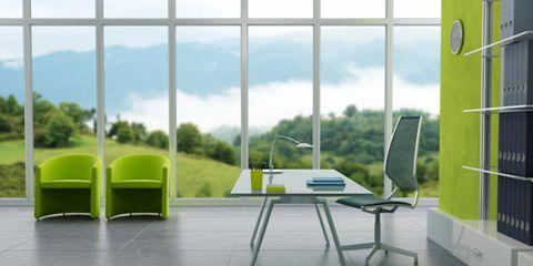 Furniture, Room, Floor, Chair, Fixture, Design, Daylighting, Desk, Armrest, Transparent material,