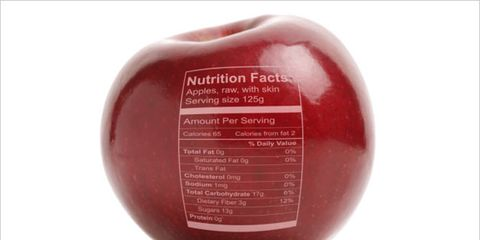 nutrition labels can trick consumers; apple with nutrition label on skin