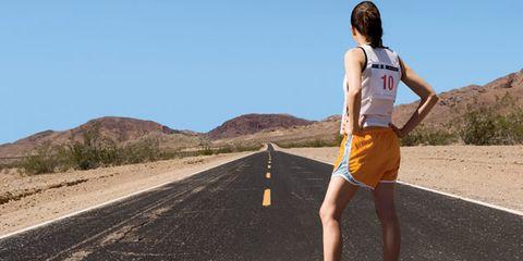 Clothing, Road, Human leg, Asphalt, Infrastructure, Sleeveless shirt, Road surface, Landscape, Sportswear, Elbow,