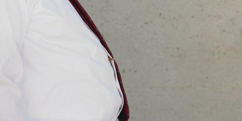 Sleeve, Collar, White, Carmine, Maroon, Pocket, Coquelicot, Button, Strap,