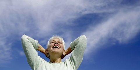 Daytime, Sleeve, Cloud, Happy, Rejoicing, People in nature, Elbow, Jaw, Gesture, Tooth,