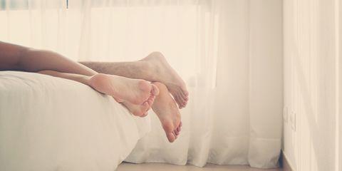 Textile, Toe, Comfort, Barefoot, Foot, Beige, Linens, Ankle, Window treatment, Curtain,