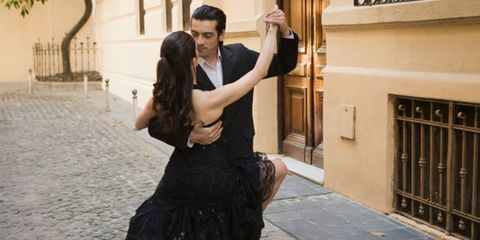 tango dancing can relieve stress; couple doing the tango
