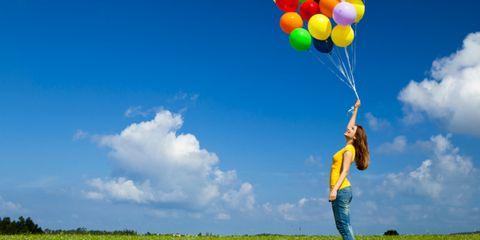 Nature, Human, Daytime, Sky, Green, Balloon, Happy, Plain, Grassland, Field,