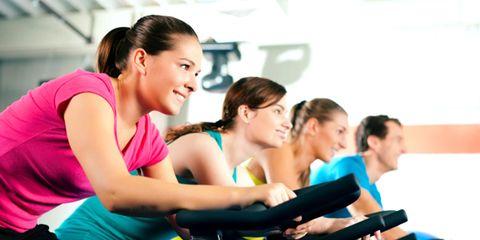 Community, Physical fitness, Magenta, Exercise, Training, Active tank, Indoor cycling, Exercise machine, Undershirt, Exercise equipment,