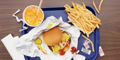 surprising downsides of fast food; tray of fast food