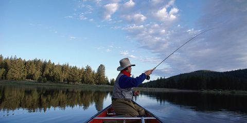 Body of water, Sky, Recreation, Waterway, Watercraft, Hat, Fisherman, Outdoor recreation, Fishing, Fishing rod,