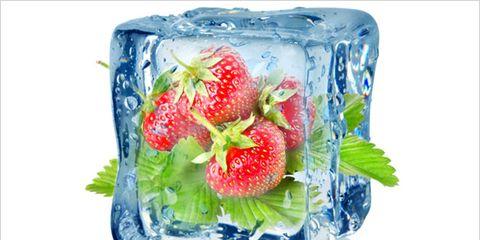 frozen fruit nutrition versus fresh fruit; strawberries in block of ice