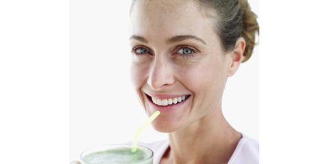 Ear, Smile, Lip, Skin, Drink, Eyebrow, Vegetable juice, Juice, Health shake, Facial expression,