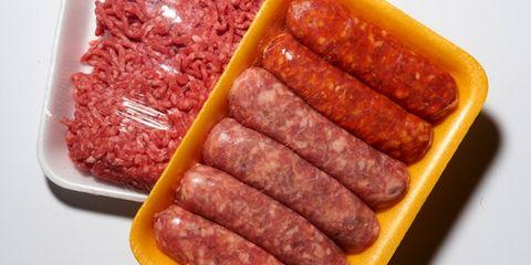 Food, Sausage, Meat, Breakfast sausage, Cervelat, Fast food, Breakfast, Salami, Diot, Magenta,