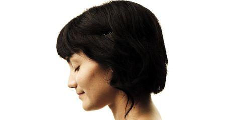 Lip, Hairstyle, Skin, Chin, Forehead, Eyebrow, Eyelash, Style, Bangs, Black hair,