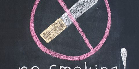 quit smoking in middle-age; no smoking sign