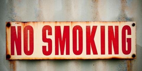 e-cigarettes may assist cessation; no smoking sign