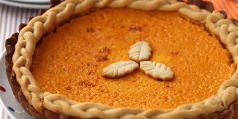 Food, Pumpkin pie, Pie, Dessert, Ingredient, Dish, Recipe, Sweet potato pie, Tableware, Sugar pie,