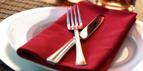 Dishware, Textile, Photograph, Red, Serveware, Cutlery, Tableware, Fork, Linens, Home accessories,
