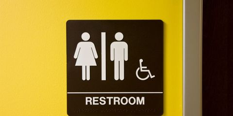 stress and GI connection; restroom sign