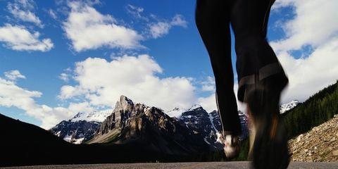 Sky, Mountainous landforms, Cloud, Mountain range, Human leg, Highland, Ridge, Summit, Asphalt, Arête,