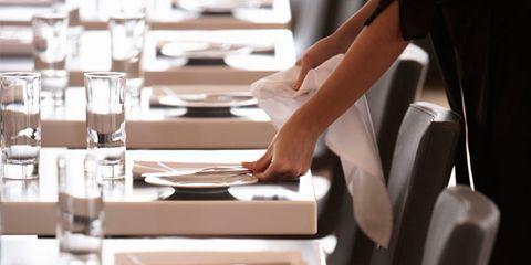 restaurant silverware can cause illness; restaurant table setting