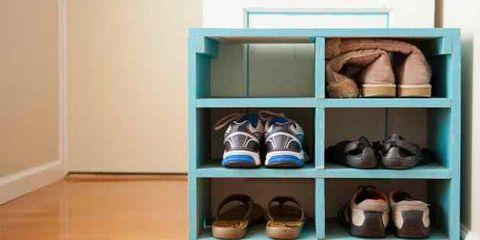 walking reduces women's risk of stroke; shoe rack
