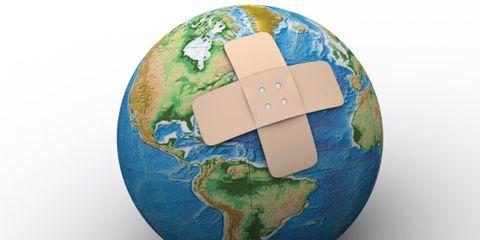 climate change hurts human health; globe with bandaid