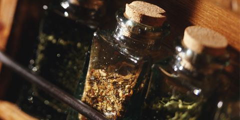 spices can often double as at-home cures; spice rack
