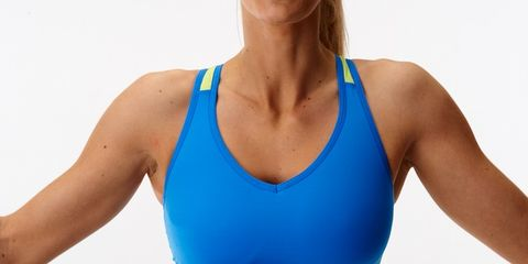 Shoulder, Sportswear, Joint, Active tank, Chest, Electric blue, Sleeveless shirt, Undershirt, Muscle, Neck,