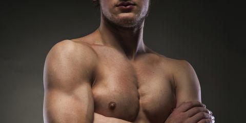 Skin, Shoulder, Chest, Barechested, Joint, Trunk, Muscle, Abdomen, Organ, Facial hair,