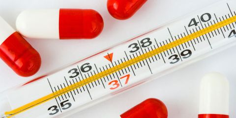the flu basic information; thermometer and pills