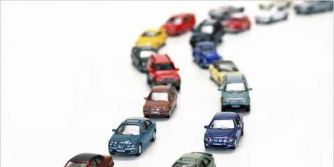 diabetics have higher car accident rates; row of toy cars
