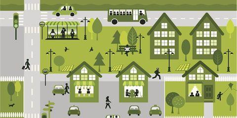 Green, Line, Roof, Home, Design, Illustration, Graphics, Cottage,
