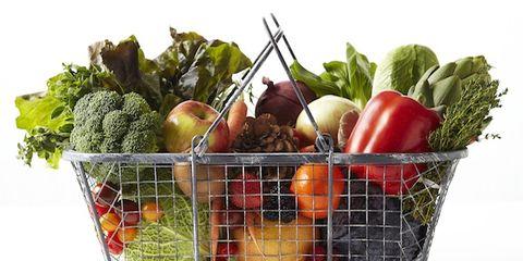Food, Whole food, Vegan nutrition, Local food, Produce, Natural foods, Ingredient, Leaf vegetable, Food group, Basket,