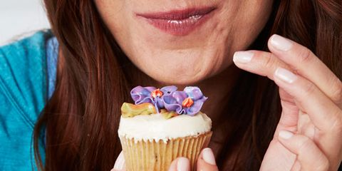 Finger, Cupcake, Skin, Sweetness, Food, Cake, Dessert, Baked goods, Baking cup, Dairy,