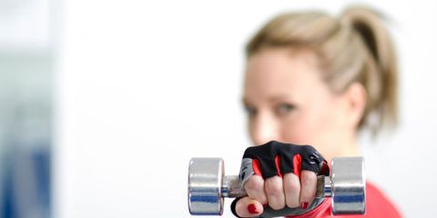 Certain phrases can improve muscle capacity; woman working out