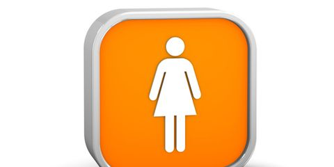 pap tests might diagnose uterine and ovarian cancers; woman's restroom sign