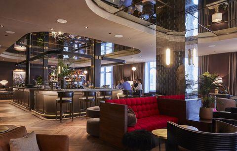 Lobby, Building, Interior design, Property, Room, Restaurant, Ceiling, Architecture, Café, Furniture,
