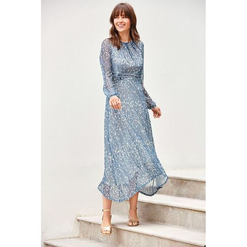 Next Blue Spot Mesh Midi Dress