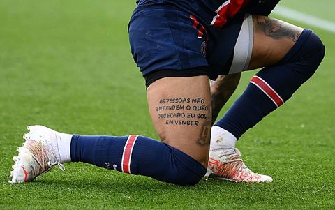 a picture taken on april 3, 2021 shows a tattoo reading people dont understand how obsessed i am with winning on paris saint germains brazilian forward neymars thigh during the french l1 football match between paris saint germain psg and lille losc at the parc des princes stadium in paris, on april 3, 2021 photo by franck fife  afp photo by franck fifeafp via getty images