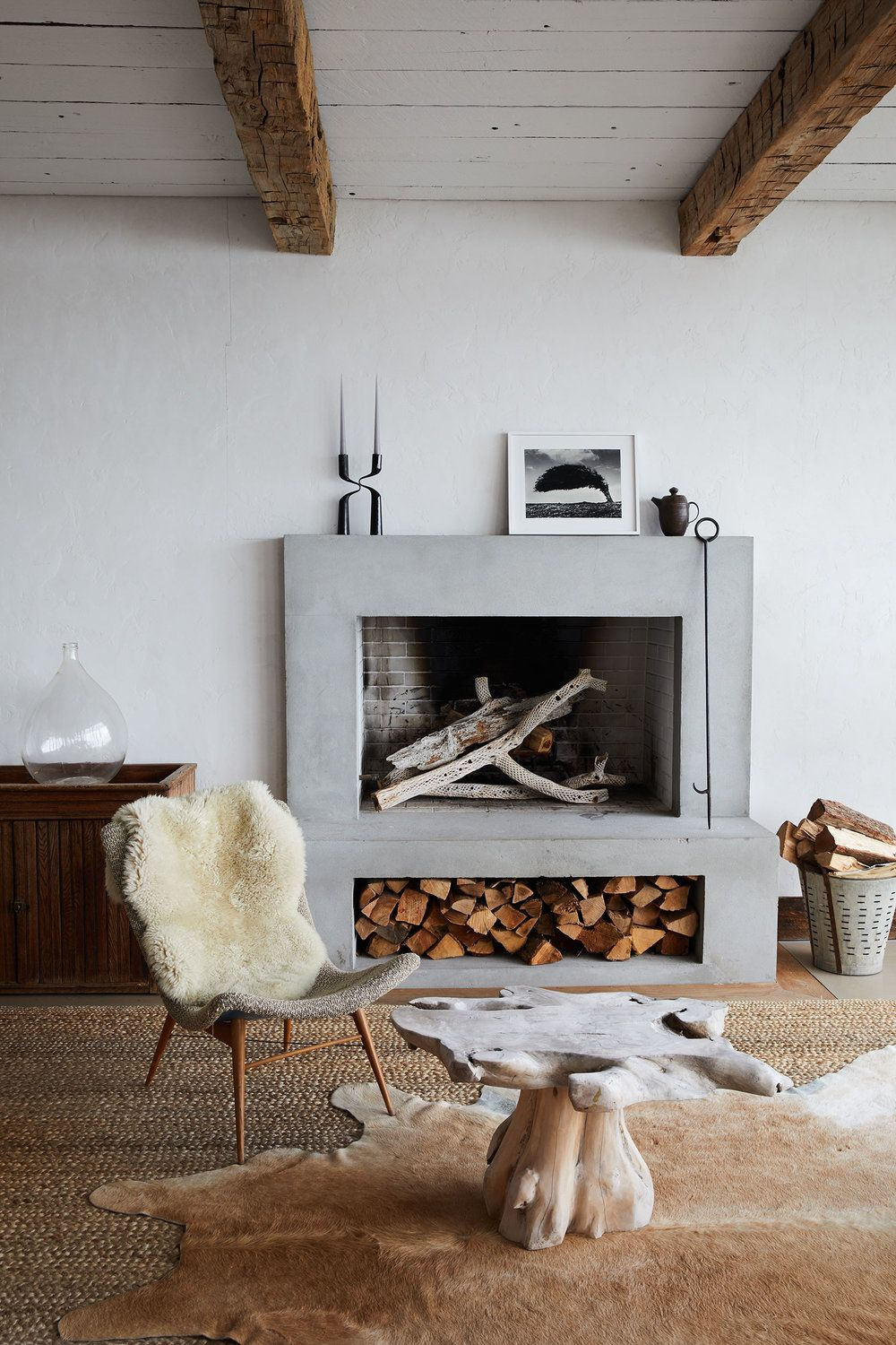fireplace storage ideas