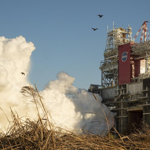 nasa's sls rocket during a green run static fire test in january