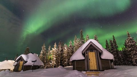 Aurora, Sky, Nature, Winter, Green, Freezing, Tree, Natural landscape, Snow, Night,