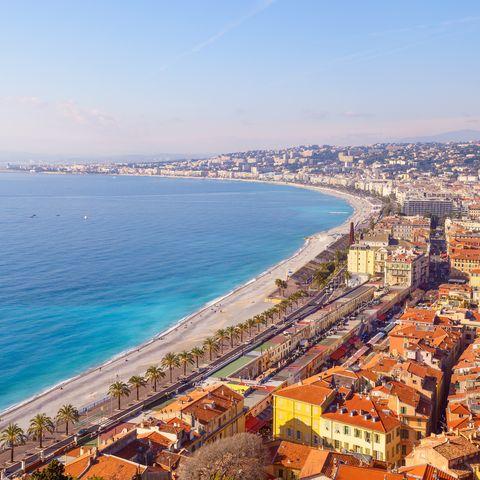 nice city promenade beach and mediterranean sea france
