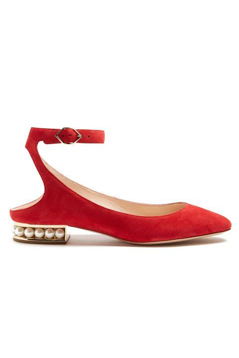 Footwear, Shoe, Red, Slingback, Mary jane, Court shoe, Sandal, High heels,