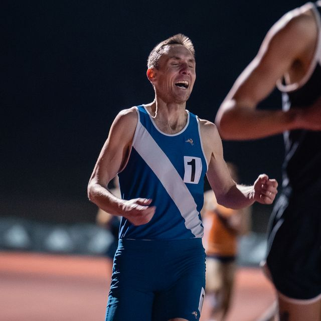nick willis finishes his record breaking race, giving him his 19th consecutive year of sub 4 miles